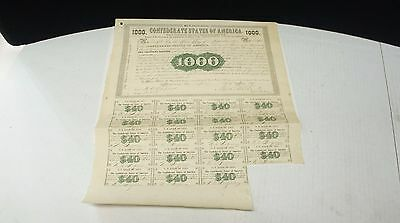 1861 Civil War Confederate States of America Currency $1000 Loan Partial Sheet
