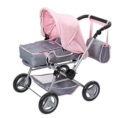 Baby Born Deluxe Grey And Pink Dolls Pram Brand New In Box
