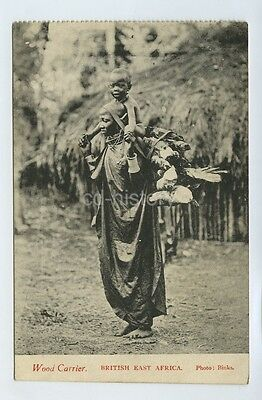 Woman Carrying Wood & Child From British East Africa -  Postcard Africa