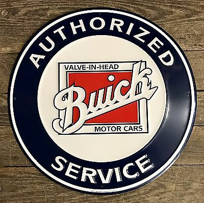 """Authorized BUICK Service Vintage 24"""" Circular Embossed Tin Metal Sign"""