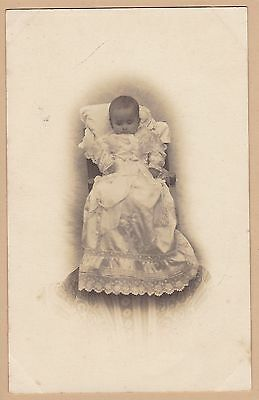 Antique Post-Mortem Photo Of Baby - Long Lace Trimmed Robe - Mourning - Funeral