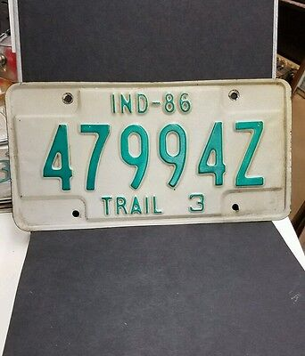 "Vintage 1986 Indiana ""TRAIL 3"" License Plate"