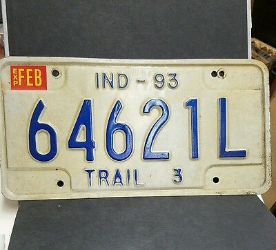 "Vintage 1993 Indiana ""TRAIL 3"" License Plate"