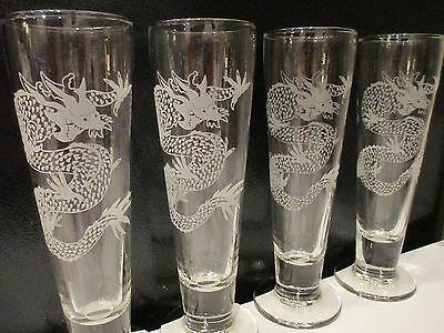 4 Mythical DRAGON Footed Beer Glass Pilsners Etched/Frosted Mystical