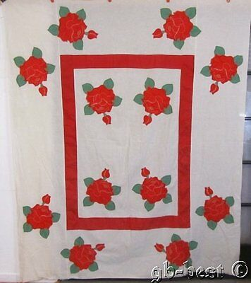 Beautiful c 1930s Romantic Red 12 Roses Applique Vintage Quilt TOP a dozen