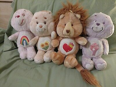 "Vintage 1985 Care Bears 12"" SHARE BEAR, CHEER, FRIENDSHIP & BRAVE HEART doll LOT"