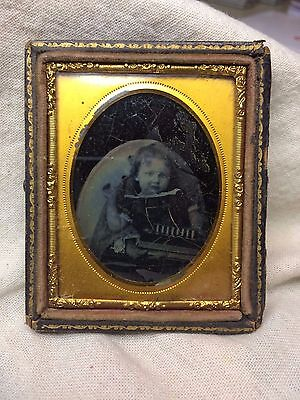 Civil War Era 9th Plate Daguerreotype Young Girl w/ Books Toy? hand holding her