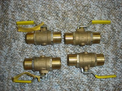 3/4 Inch Brass Butterfly Valves.  1/4 Turn Sweat Fittings. Lot of 4.