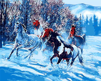 "16X20"" Paint By Number Kit DIY Acrylic Painting on Canvas Horses 1129"