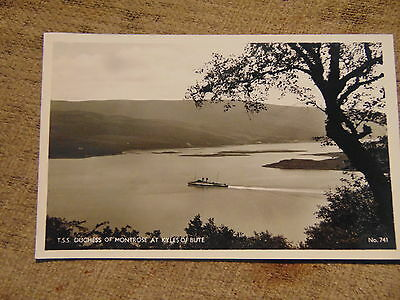 A vintage black and white postcard feat.TSS Duchess of Montrose at Kyles of Bute