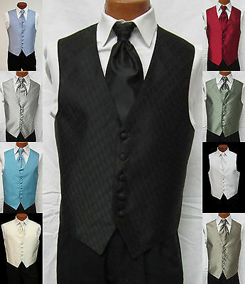 Mens Spectrum Fullback Wave Pattern Wedding Groomsmen Prom Tuxedo Vest & Tie