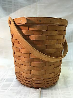 """Longaberger  Basket 9"""" Tall  Signed 1995 Collectible With Handle"""