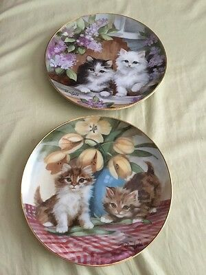 2 Franklin Mint Heirloom Collection Cat Plates By Brian Walsh
