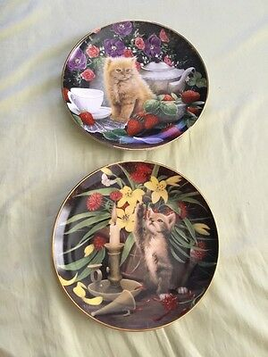 2 Franklin Mint/royal Doulton Cat Plates By Mitchell