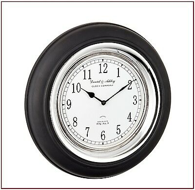 Boyd Wall Clock in Black Painted Wood and Polished Nickel Plated Finish RRP£100