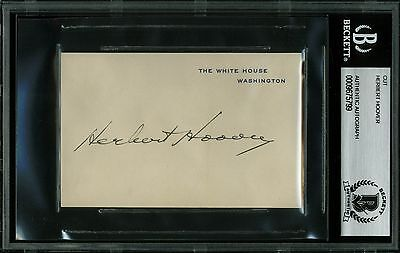 Herbert Hoover Authentic Signed 2.75x4.25 White House Card BAS Slabbed