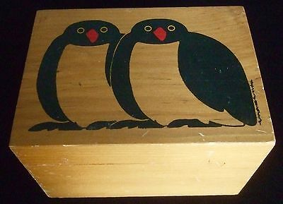 vintage 1983 TAYLOR & NG Wooden Box PENGUINS recipe CARDS trinkets stash wood CA