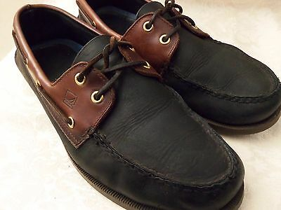 SPERRY TOP-SIDER Leather BOAT SHOES  A/O BLACK AMARETTO Mens Size 11