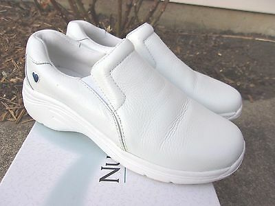 NURSE MATES  Dove White Leather Slip On LOAFER Shoes ~ Women's Size 7.5 M