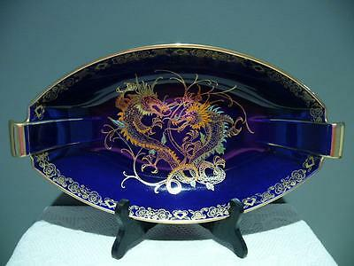 Crown Devon Fieldings Cobalt Blue Centerpiece Bowl Hand Painted Dragons England