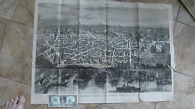 RARE HUGE 1872 Antique Print of BOSTON AFTER THE GREAT FIRE, Harper's, for Frame