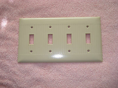 VINTAGE  SIERRA BAKELITE IVORY RIBBED Quad 4 switch   Light Switch COVER PLATE..