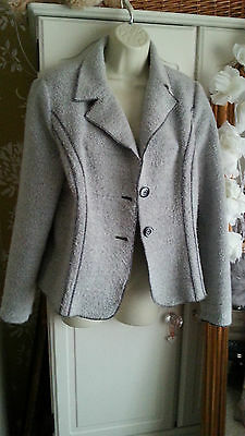 M&S PER UNA ~ Grey Boucle Fitted Style Jacket ~ Size 16