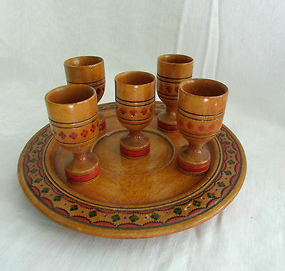 Vintage Set Of Wooden Cups With Plate Painted Etched Decorative