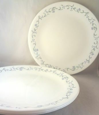 Corelle COUNTRY COTTAGE DINNER PLATES (Set of 4) Lavender Flower Hearts Green