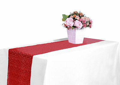 """12x108"""" Red Sequin Table Runner Wedding Party Decorations Catering Event 3"""