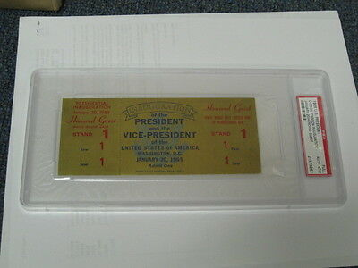 """1/20/65L.B. Johnson inauguration full ticket for """"Honored Guest-Stand 1"""" PSA"""