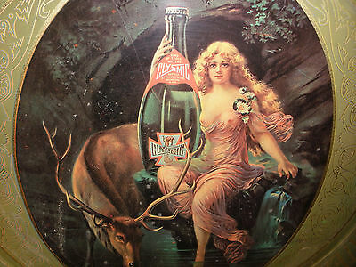 Vintage advertising Clysmic Spring Bottled King of Table Water Tray nude girl