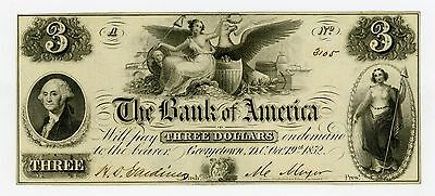 1852 $3 The Bank of America - Georgetown, D.C. Note XF/AU