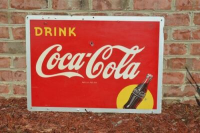 VINTAGE 40's WAR TIME COCA COLA SODA DRINK SILHOUETTE BOTTLE RARE MASONITE SIGN
