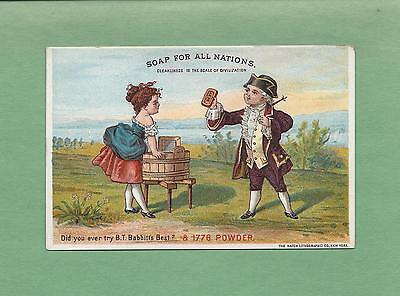 COLONIAL SALESMAN SELLS BABBITT'S SOAP TO LADY On Colorful Victorian Trade Card