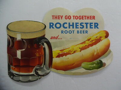 c.1959 ROCHESTER ROOT BEER HOT DOG Store Advertising Sign Vintage Original NOS