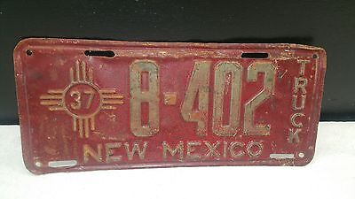 Vintage 1937 Mexico Truck License Plate  Nm 37