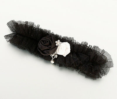 Lilian Rose  Bridal Garter -Black Tulle W/ Rose -Free Shipping!