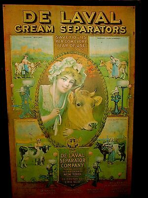 """DE LAVAL Cream Separators Metal Sign 32.5""""x 21.5"""" In great shape for age#1596/I5"""