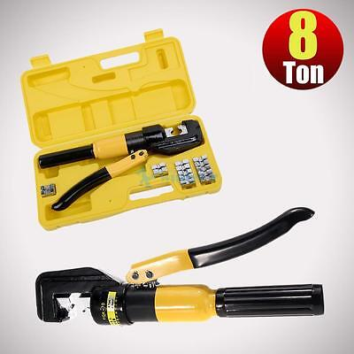 8 Ton Hydraulic Wire Battery Cable Lug Terminal Crimper Crimping Tool 8 Dies