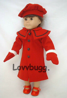 "Red Wool Coat Set 4pc Gloves and Tam/Hat for 18"" American Girl Doll  Lovvbugg!"