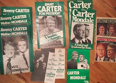 LOT (9) Carter/Mondale Presidential Campaign POSTERS. 1976 & 1980 Re-Election