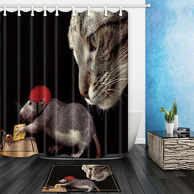 Cat And Mouse Theme Waterproof Fabric Home Decor Shower Curtain Bathroom Mat