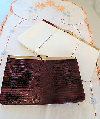 2 Vintage ETRA Leather Purses Handbag Gold Chain White & Burgundy Evening Clutch