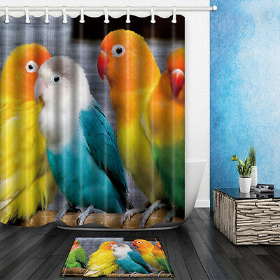 The Parrot Theme Waterproof Fabric  Bathroom Mat Home Decor Shower Curtain