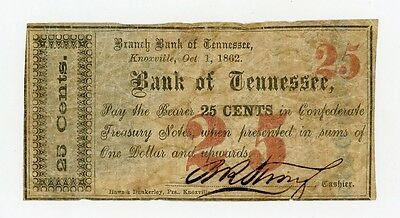 1862 25c The Branch Bank of TENNESSEE Note (Knoxville Branch) - CIVIL WAR Era