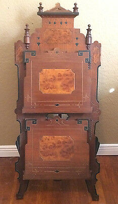 Fantastic Ornate Anique Victorian East Lake Double Magazine Rack Stand