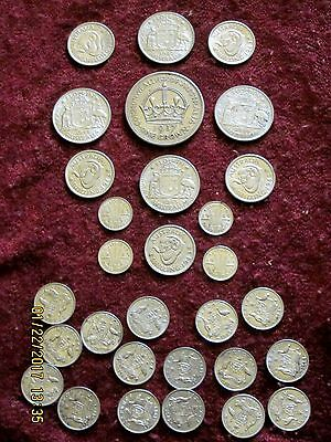30 HIGH GRADE AUSTRALIA STERLING SILVER LOT, 3 PENCE - CROWN 1937 - 1945; 153 Gm