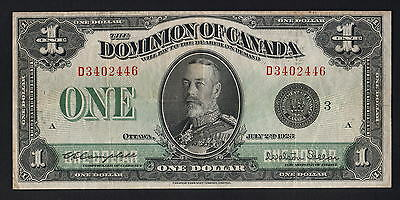 CANADA P-33n. 1923 1 Dollar.. Campbell/Sellers..  Central Portrait..  VF