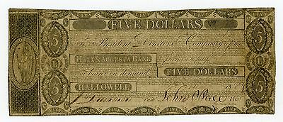 1800's $5 The Hallowell & Augusta Bank - Hallowell, MAINE Note